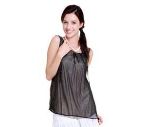 优加100%银纤维防辐射服双层可拆卸铆钉时尚全银背心